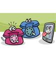 Smartphone with retro phones cartoon vector