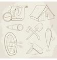 Camping hand drawn icons vector