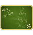 Little boy with ball on retro school board vector