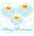 Christmas card with patterned hearts vector