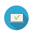 Flat design concept laptop icon with long sh vector