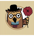 Owl with flower vector