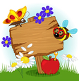 Wooden sign with flowers and insects vector