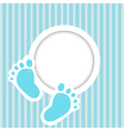 Blue card with baby feet vector