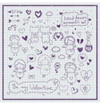 Hand drawn romantic set vector