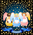 Three christmas angels vector