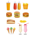 Big group of fastfood product vector