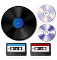Vinyl record cd and cassette tape set vector
