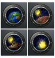 Four round portholes vector
