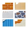 Wall set of building icons vector