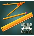 Welcome back to school greeting with ruler pencil vector
