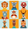 Hipster animals icons flat vector