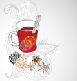 Mulled warm wine background vector