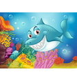 A big fish near the coral reefs vector
