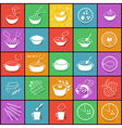 Flat fast food packaging cooking process icons set vector