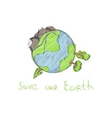 Hand drawn cartoon earth vector