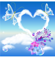 Heart cloud and butterflies vector