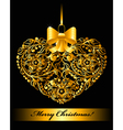 Christmas card with patterned heart vector