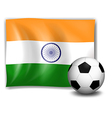 The flag of india at the back of the soccer ball vector