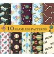 Set of 10 child seamless pattern vector