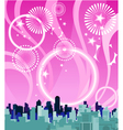 City on a background of pink sky with fireworks vector