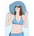 Young woman in blue beach clothes and sunglasses vector