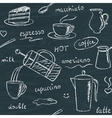 Seamless pattern with chalkboard coffee items vector