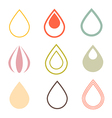Water drops icons set in retro style vector