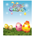 Easter eggs with smiling face vector