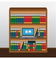 Book shelf with laptop online library vector