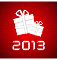 Christmas gift from white paper new year card vector
