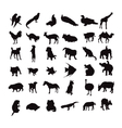 Silhouette set of animals vector