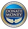 Donate money blue label vector