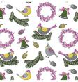 Birds wreath print vector
