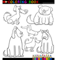 Cartoon dogs or puppies for coloring book vector