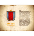 Aged card with shield label with crown vector