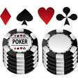 Poker black counter and suit vector