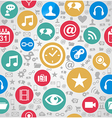 Colorful social media icons seamless pattern vector