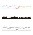 Oslo skyline linear style with rainbow vector