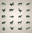 Silhouette of animals set 1 vector
