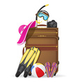 Suitcase with beach accessories vector