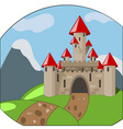Cartoon castleon background with mountains vector