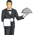 Butler or waiter serving tray of food vector