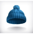 Knitted blue cap vector