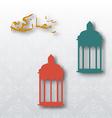 Eid mubarak background with lamps vector