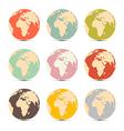 Retro paper earth world globe map icons vector
