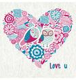 Love you owl heart vector