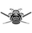 Samurai helmet and crossed katanas vector
