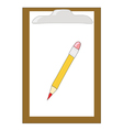 Wooden clipboard with pencil vector