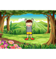 A playful kid in the middle of the forest vector